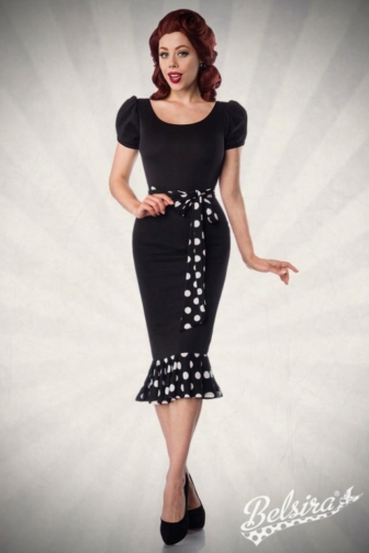 Jersey Dress with Puff Sleeves